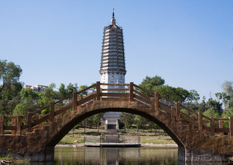 Arch bridge and pagoda