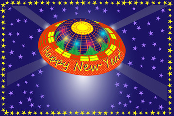 New Year card with UFO