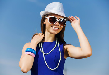 Girl young hat glasses