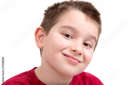 Young Boy looking at Camera Appreciatively