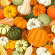 Pumpkins. Vector seamless background.