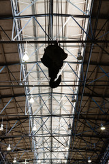 Hook hanging under the roof of foundry factory