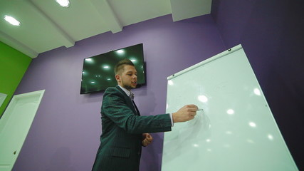 professional of multilevel business educates young team