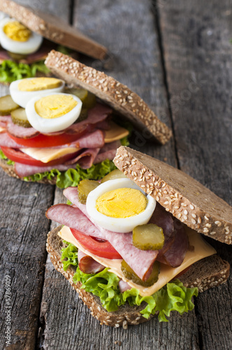 Three toast sandwiches