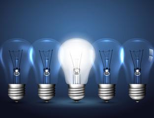Light bulbs, idea concept
