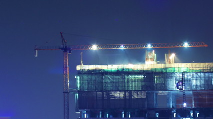 construction site night scene time lapse