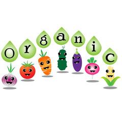 Organic vegetables cartoon