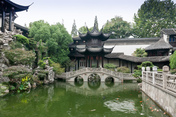 in the garden pond and pavilion ,in China