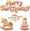 Merry Christmas gingerbread sign, horse and trees