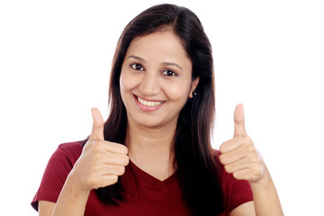 Cheerful showing thumbs up