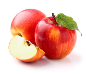 Sweet apples with leaf