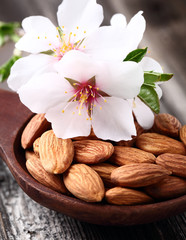 Almonds kernels with flowers