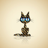 Golden present cat for your design