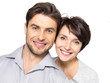 Closeup portrait of beautiful  happy couple - isolated