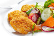 chicken nuggets and vegetable salad