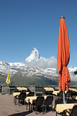 Parasol on terrace at Sunnegga with Matterhorn