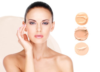 Model face of beautiful woman with foundation on skin