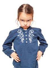 Angry Little Girl Isolated