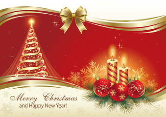 Greeting card with Christmas tree