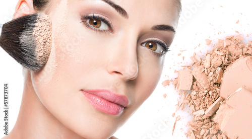 face of beautiful woman with powder on skin