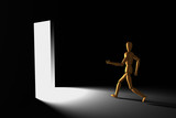 3D model of puppet running out of the dark room to bright exit