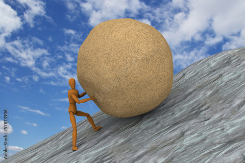 Puppet trying to push and roll a stone up to sloped mountain
