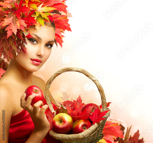 Beauty Autumn Woman with Ripe Red Organic Apples
