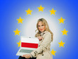 woman holding laptop with poland flag