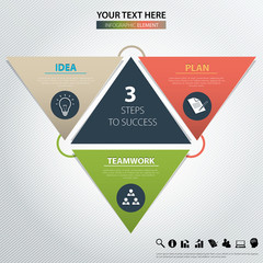 Three steps to success. Vector design element.