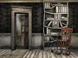 Stary zakurzony pokój z fotelem bujanym i książkami