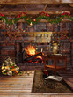 Kominek ze świątecznymi girlandami i prezentami