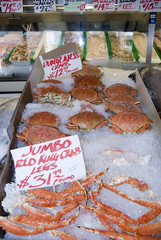 Crabs on a stall at Pike Place Market, Seattle