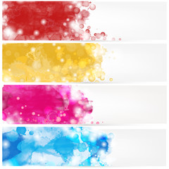 Set of abstract banners with watercolors stains