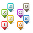 Colorful set pointers with numbers and letters