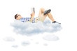 Young male reading a novel and lying on clouds
