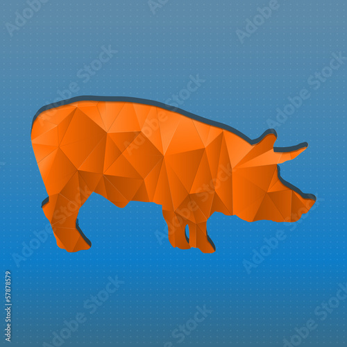 Poster Geometrische dieren Abstract triangular stamp orange pig