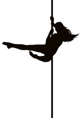 Pole dancer woman vector silhouette