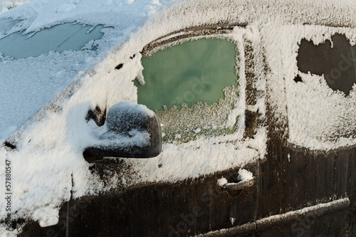 The car in the snow.