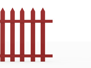 Old red fence rendered on white