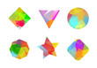 Set of colored geometric polygonal shapes for your design.