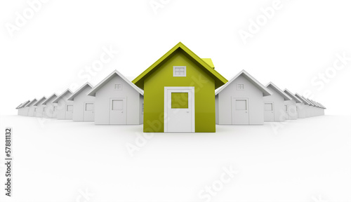 House concept rendered one is green isolated on white