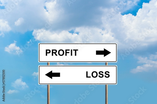 profit and loss road sign