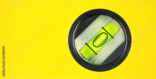 Yellow spirit level. Close up image.