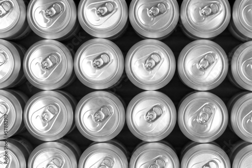 Aluminum drink cans  , top view image