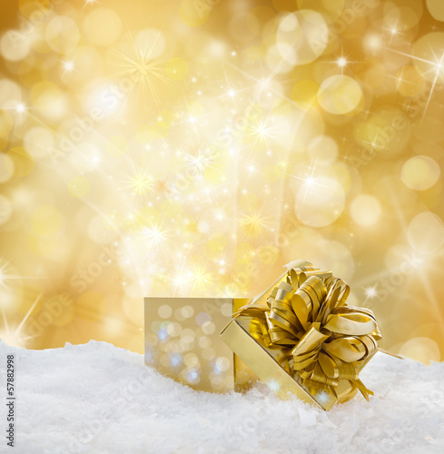 golden background with present