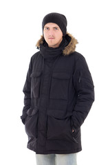 Fashion portrait of young handsome man in black winter jacket