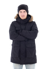 portrait of young attractive man in black winter jacket isolated