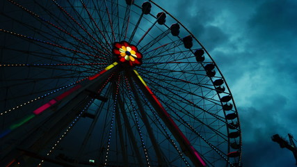 Attractions in Prater amusement park at sky background