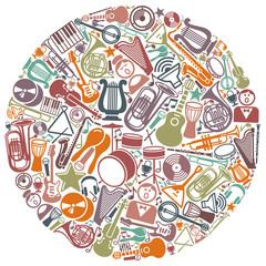 Circle from musical symbols