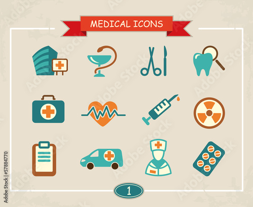 Set of medical icons in a retro style
